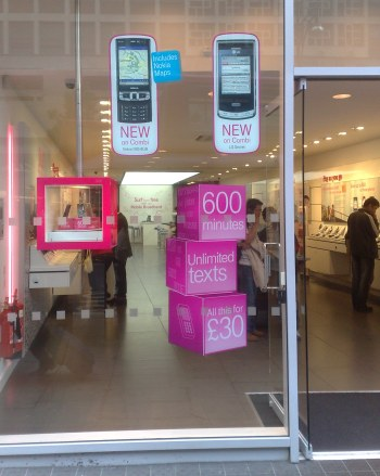 T-Mobile's Oxford Street shop showing more handsets