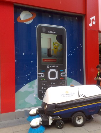 Vodafone's Oxford Street shop, showing a Nokia handset advertising the Samsung Soul