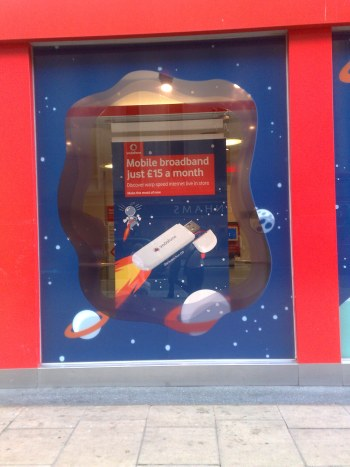 Vodafone's shopfront on Oxford Street advertising its broadband modem