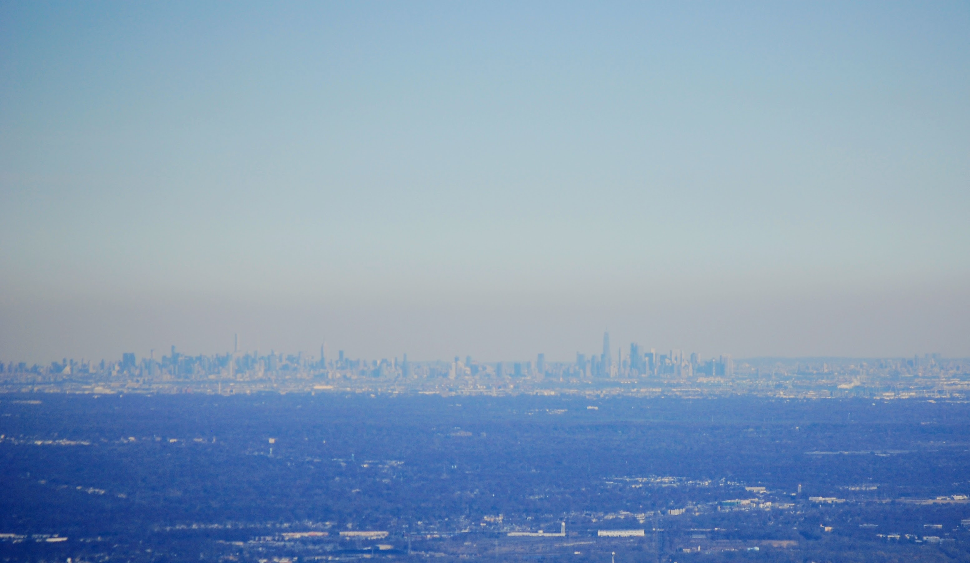 Manhattan skyline, seen from New Jersey, on a clear winter's day