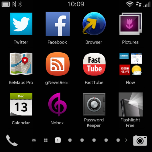 Home screen on Blackberry 10