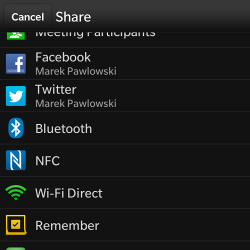 Share menu on Blackberry 10