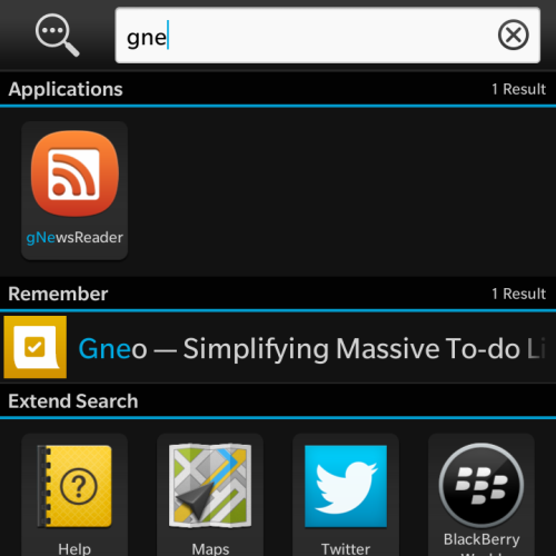 Search for anything from Blackberry 10 homescreen