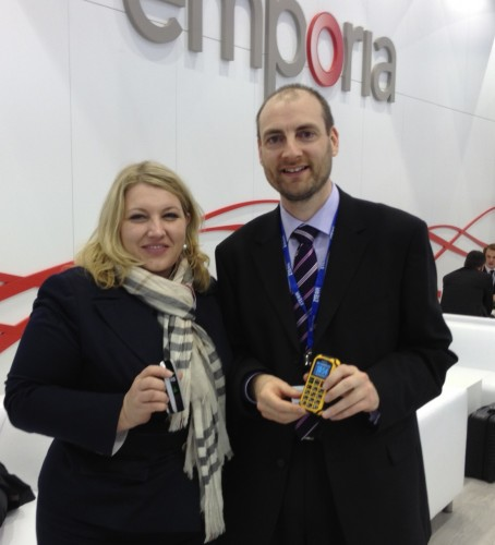 Karin Schaumberger, CMO of Emporia, and Ian Hosking of Cambridge University, with Emporia's products