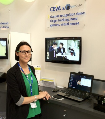 Liat Rostock demonstrating EyeSight gestural input at Mobile World Congress