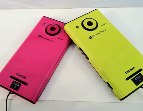 Fujitsu's Windows Phone in fluorescent yellow and pink