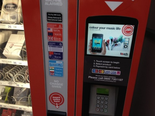 Mobile phone vending machine at London's Victoria Station, selling a selection of low end handsets, interface detail