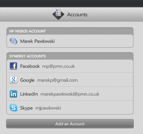 WebOS - centralised management of networking accounts