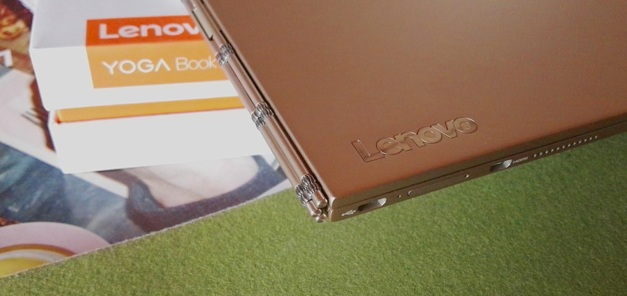 Detail of the Lenovo Yoga Book's cog hinge mechanism