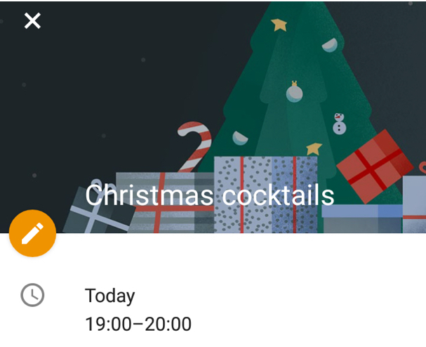 Festive cheer from Google Calendar