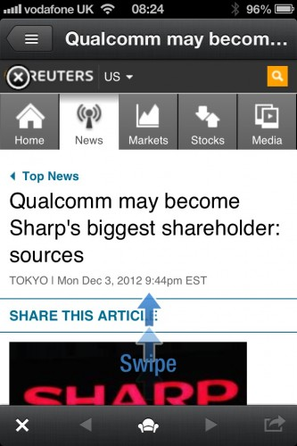 Samsung Galaxy Note II advertisement on Reuters. Swipe up to access it.