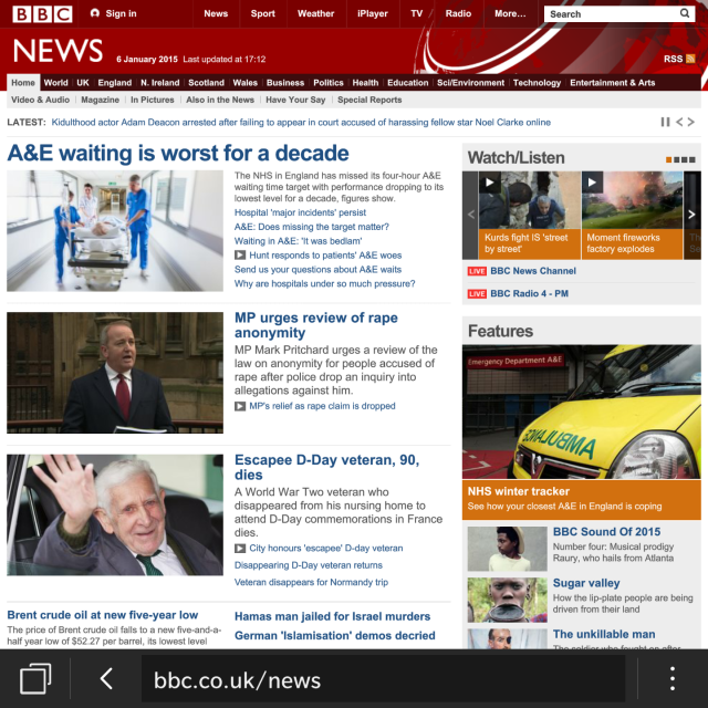 The full BBC web-site displayed on the screen of the Blackberry Passport