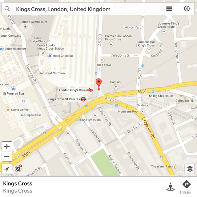 BeMaps on the Blackberry Passport showing where Kings Cross really is