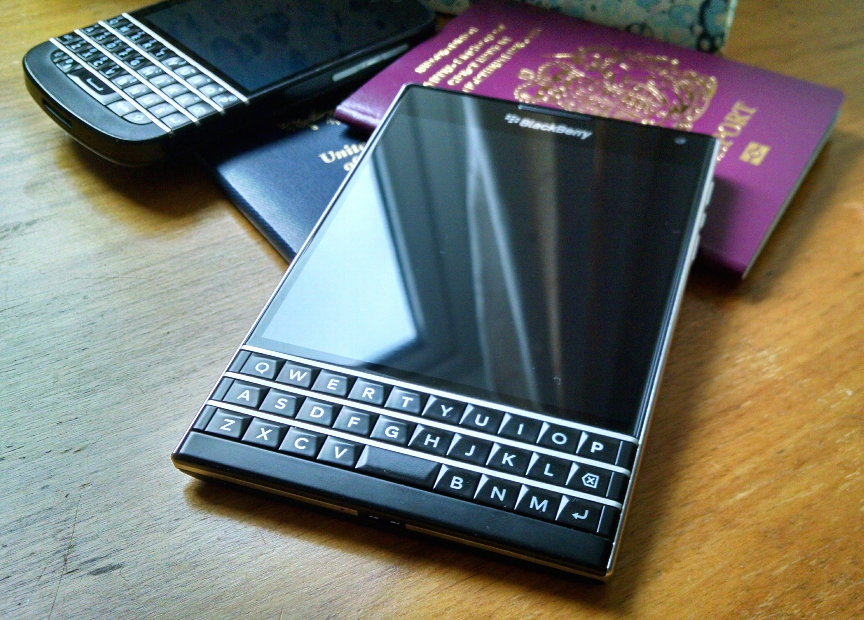Blackberry Passport on a desk