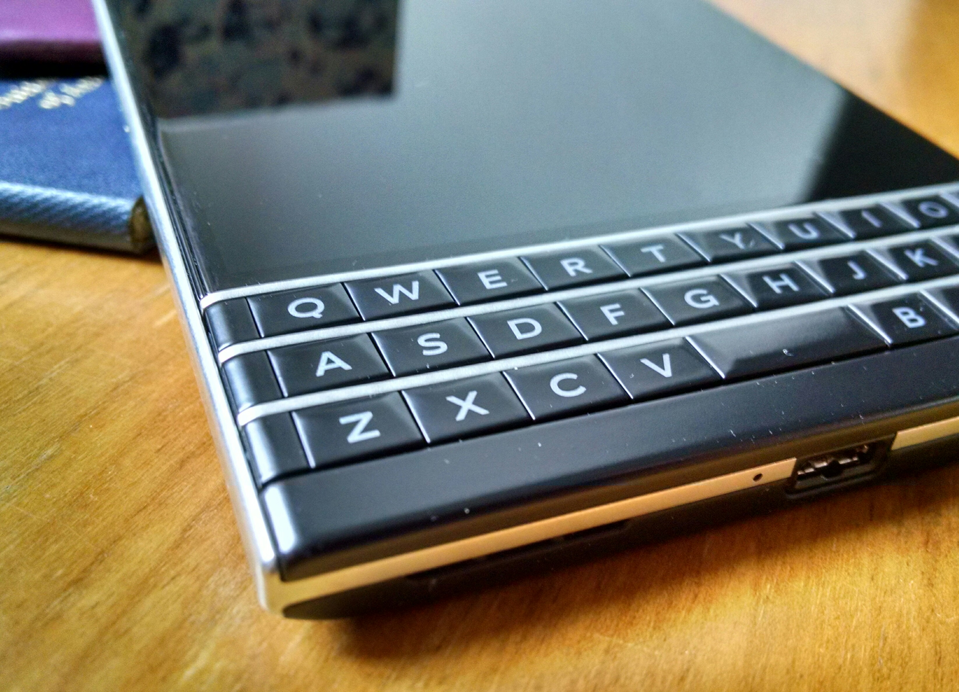 Close-up of Blackberry Passport physical keyboard