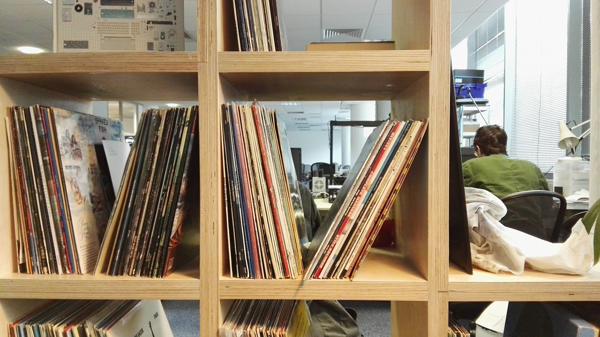 Vinyl collection inside the Central Research Laboratory