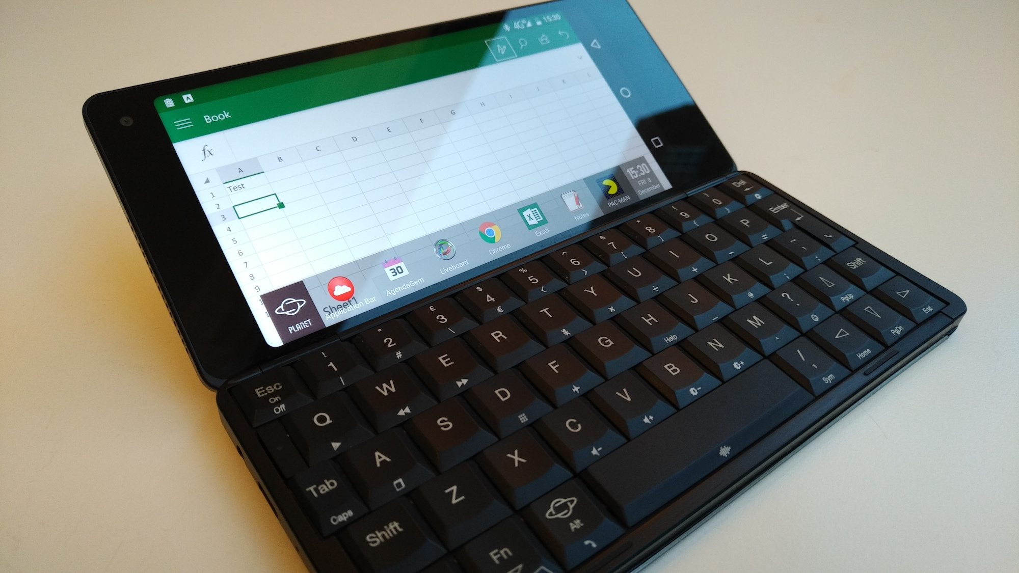 Gemini PDA (pre-production) running Excel in landscape format and showing the custom menu bar