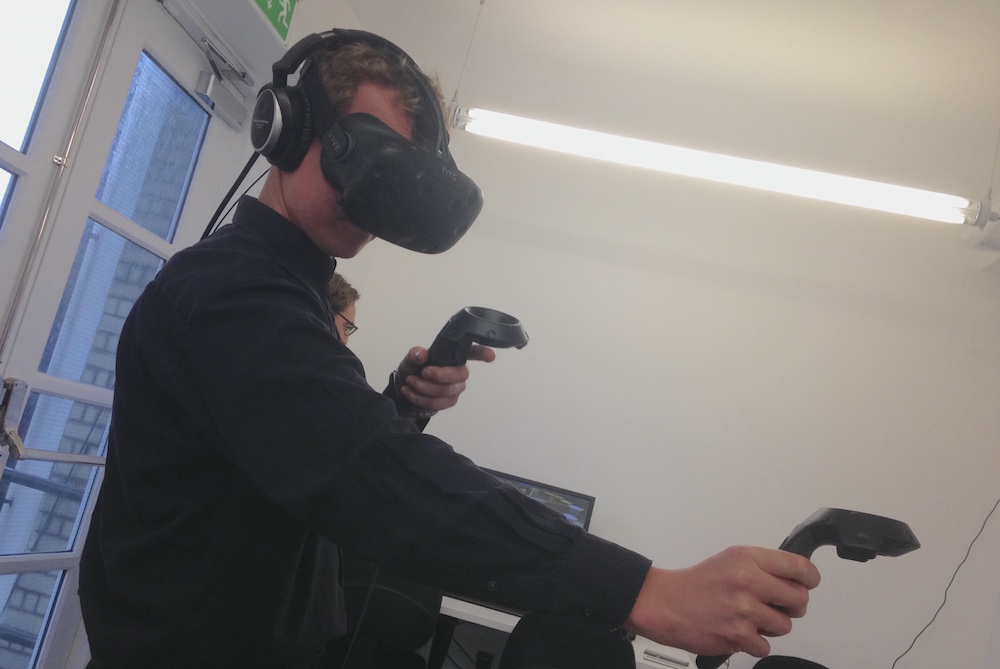 Marek trying out HTC Vive