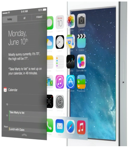 Layers create the illusion of visual depth on the iOS 7 homescreen