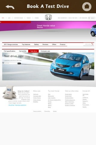Hona Jazz advertisement - poor user experience when booking a test drive