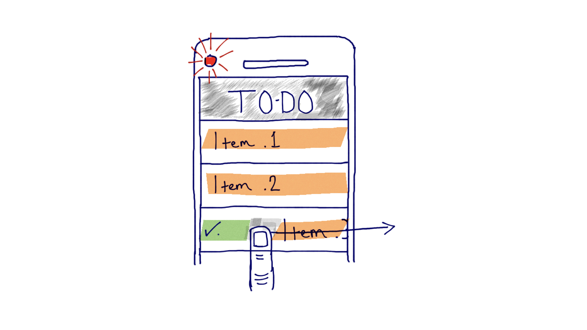 Interaction sketch: seamless indicator light in a to-do list