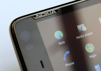 Nokia N900 bezel detail with engraved Nokia logo