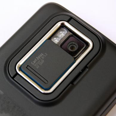 Nokia N900 camera detail showing Carl Zeiss lens and dual LED flash