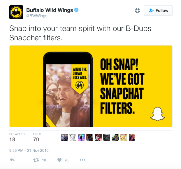 Buffalo Wild Wings Snapchat filter