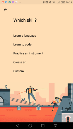 Specific activities offered by Google Calendar's 'Learn a skill' feature