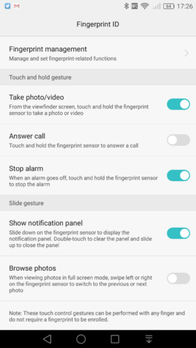 Huawei fingerprint swipe settings
