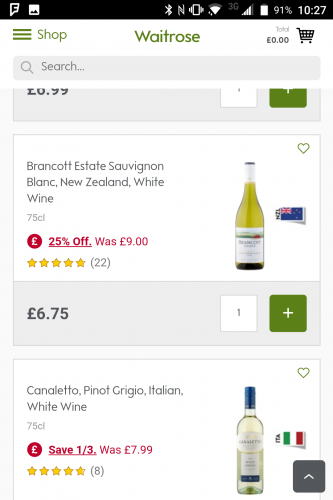 Product page in Waitrose.com wine section
