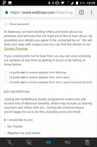 Opt-in, opt-out or just click through to get it done on Waitrose.com