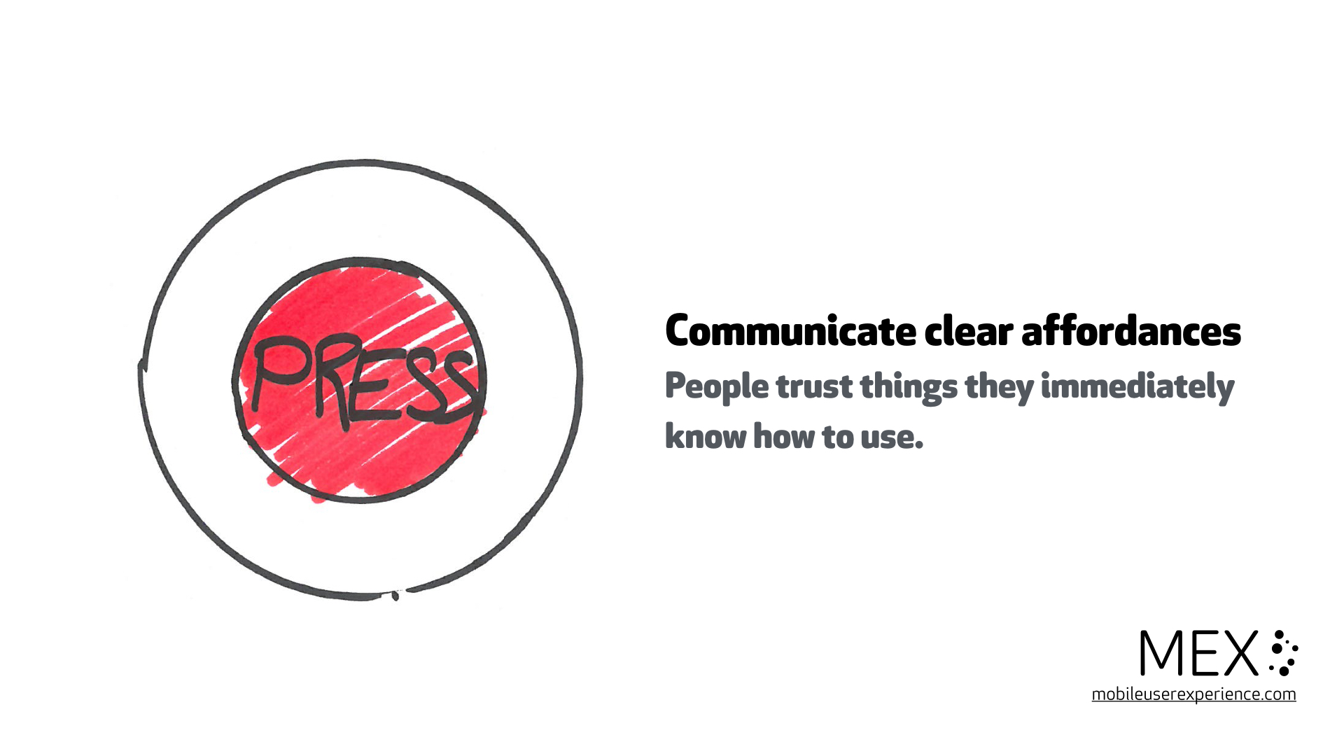 Communicate clear affordances. People trust things they immediately know how to use.