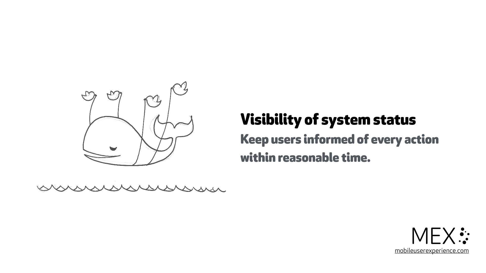 Visibility of system status Keep users informed of every action within reasonable time.