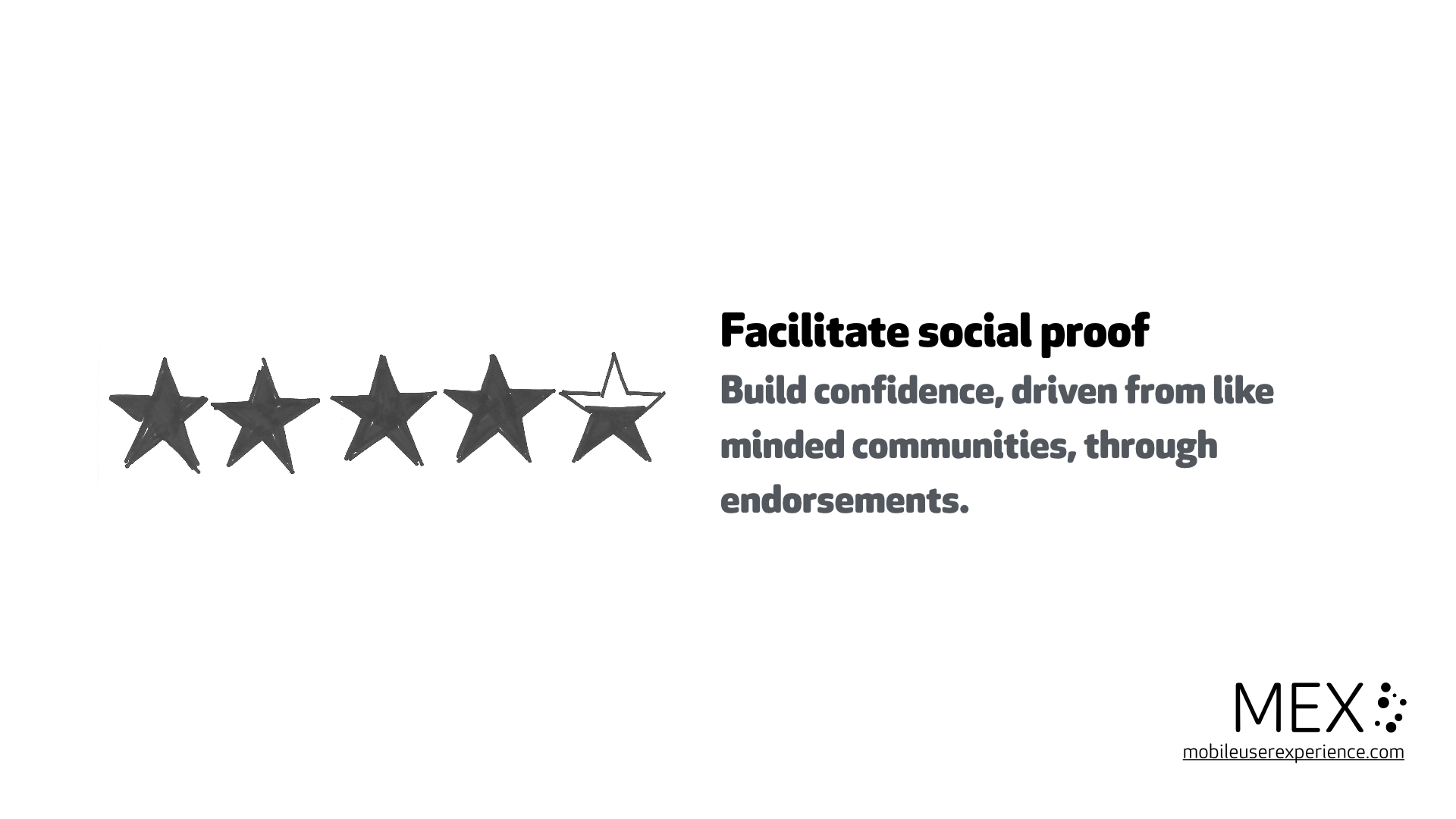 Facilitate social proof Build confidence, driven from like minded communities, through endorsements.