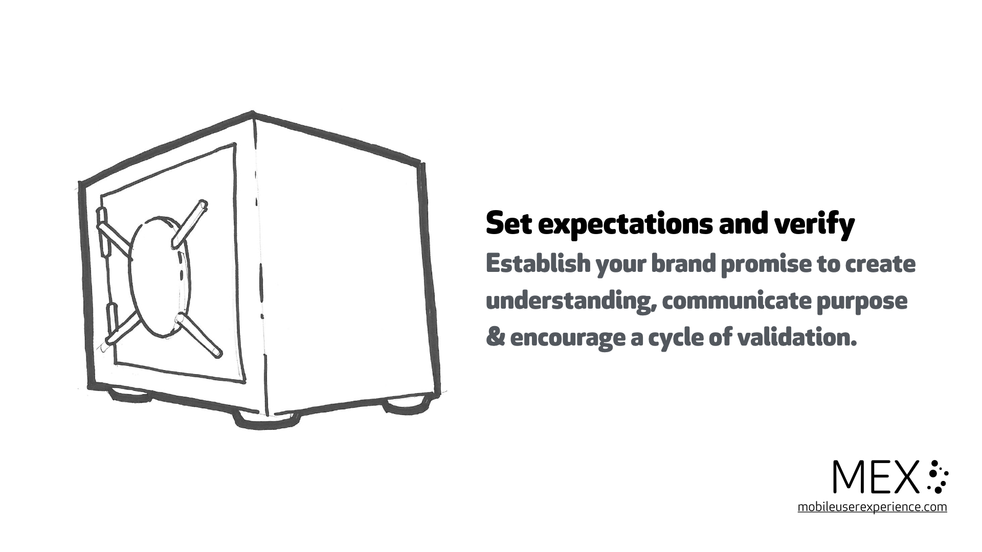 Set expectations and verify Establish your brand promise to create understanding, communicate purpose & encourage a cycle of validation.