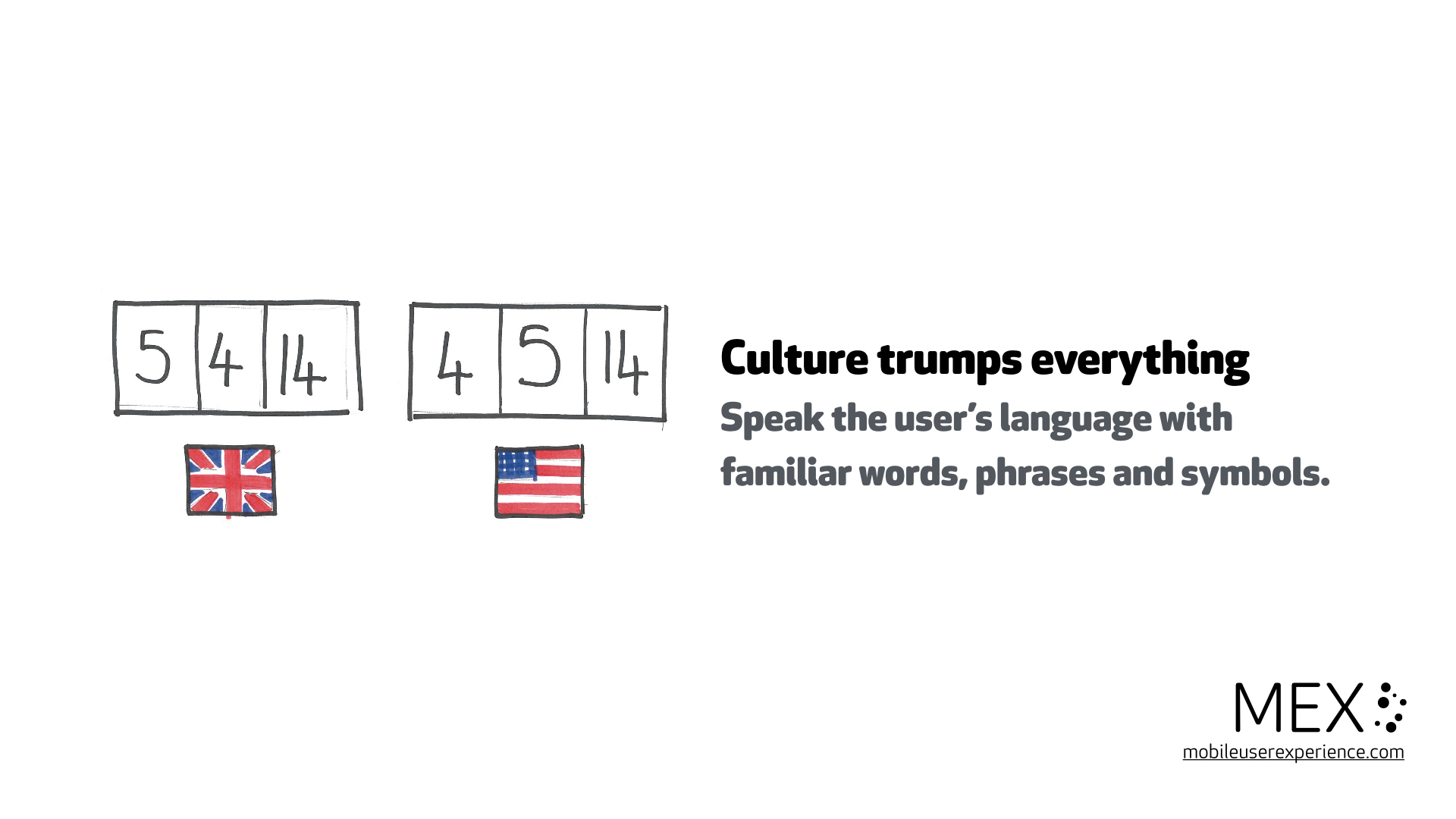 Culture trumps everything Speak the user's language with familiar words, phrases and symbols.
