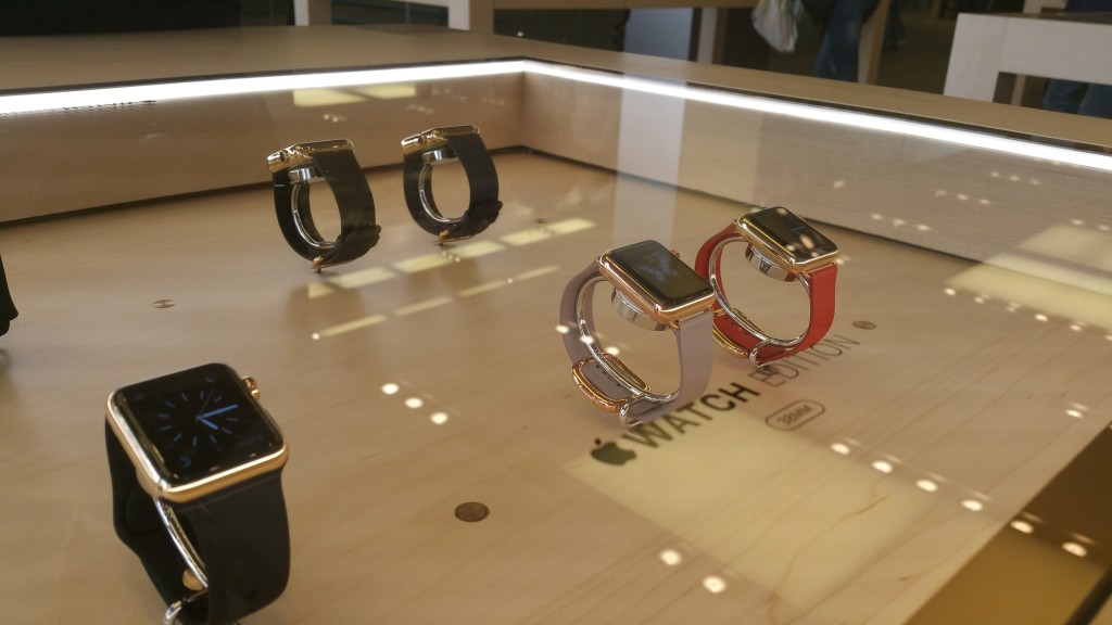 Apple Watch range showed under glass display tables in London