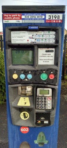 Parking machine with a poor UI in a British station car park